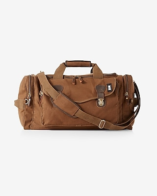Express Mens Robert Mason Leather Canvas Weekender Bag Brown