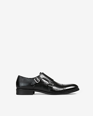 Express Mens Cap Toe Double Monk Strap Leather Dress Shoes Black Men's 8 Black 8