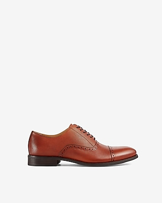 Express Mens Saffiano Leather Cap Brogue Oxford Dress Shoes