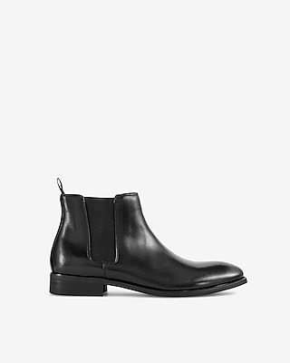 Express Mens Leather Chelsea Boots Black Men's 10 Black 10
