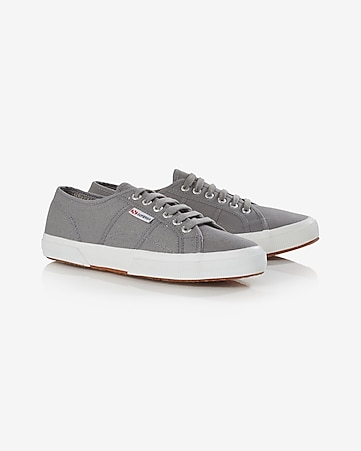 gray superga canvas low top sneaker