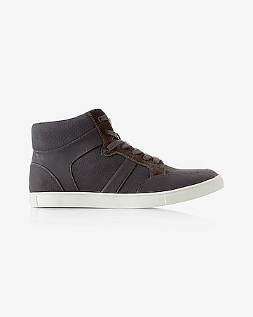 perforated lace-up high top sneaker