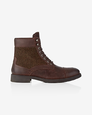 brown leather wool lined lace-up boot