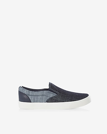 color block denim slip-on sneaker