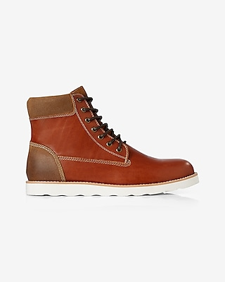 Express Mens Brown Leather Lace-Up Boot