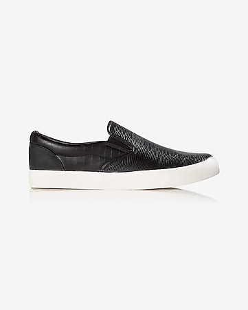 faux lizard slip-on sneaker