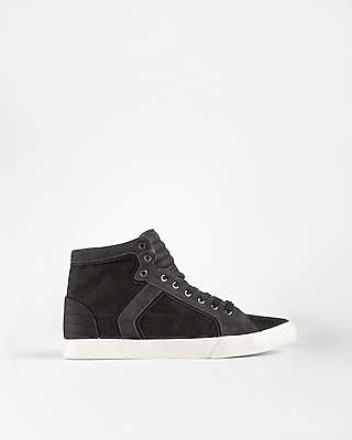 Express Mens Black Denim High Top Sneakers