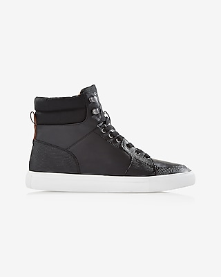 Express Mens Black High Top Textured Sneaker