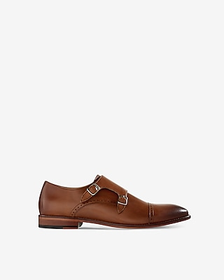 Express Mens Leather Cap Toe Double Monk Strap Dress Shoe