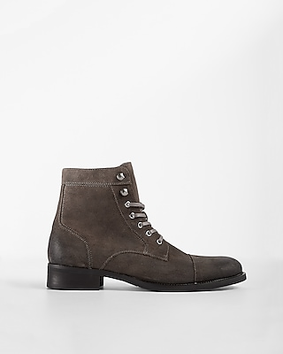 Express Mens Gray Suede Lace-Up Boot