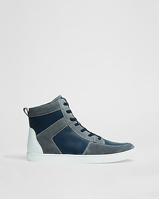 Express Mens Color Blocked High Top Leather Sneaker