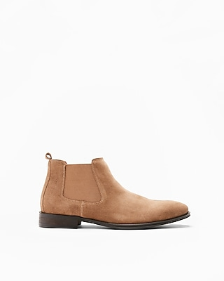 Express Mens Brown Genuine Suede Chelsea Boot