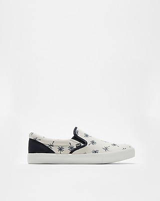 Express Mens Palm Tree Print Slip-On Sneakers
