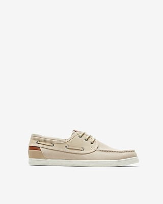 Express Mens Canvas Boat Shoes Neutral Men's 8 Neutral 8