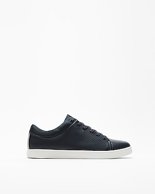 Express Mens Navy Perforated Low Top Sneakers