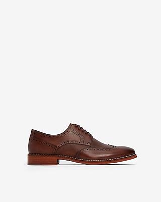 Express Mens Textured Wingtip Dress Shoes