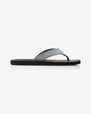 Express Mens Chambray Flip Flops Black 7