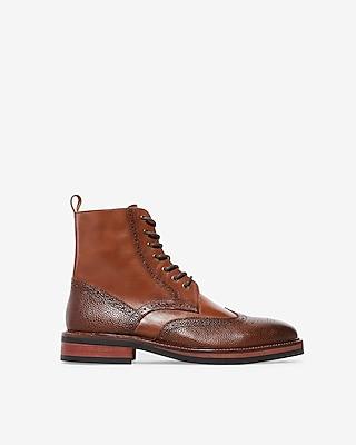Express Mens Wingtip Brogue Lace-Up Boots