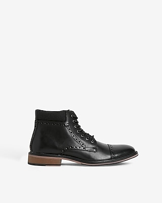 Express Mens Cap Toe Brogue Lace-Up Boots