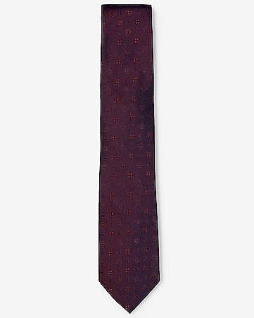 narrow geometric print silk tie