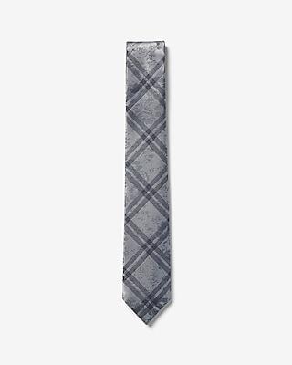 Express Mens Narrow Reversible Floral Plaid Tie