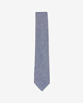 Express Mens Chambray Narrow Cotton Tie