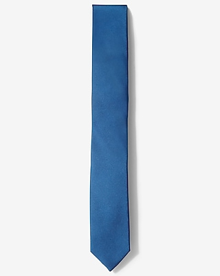 Express Mens Solid Skinny Silk Tie Blue