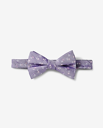 floral micro print silk bow tie