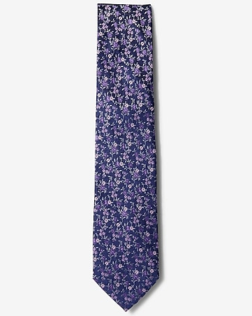 bright floral narrow silk tie