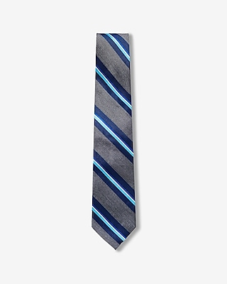 Express Mens Diagonal Stripe Narrow Silk Tie