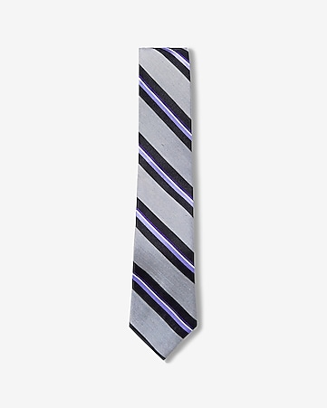 diagonal stripe narrow silk tie
