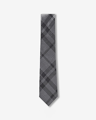 Express Mens Plaid Slim Silk Tie