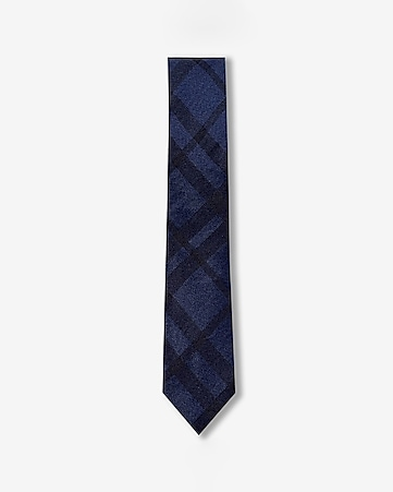 plaid slim silk tie
