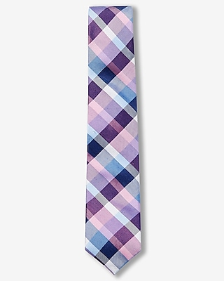 Express Mens Plaid Narrow Silk Blend Tie