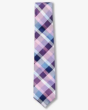 plaid narrow silk blend tie