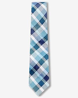 Express Mens Plaid Narrow Silk Blend Tie Blue