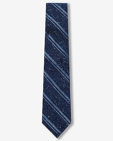 double diagonal stripe narrow silk tie