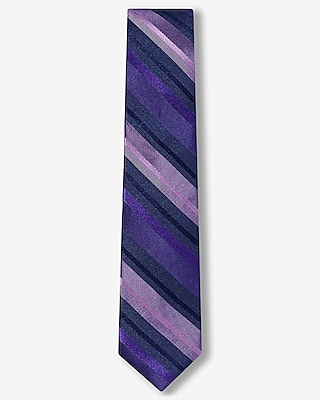 Express Mens Diagonal Stripe Slim Silk Tie Purple