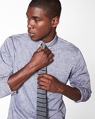 Express Mens Slim Stripe Knit Tie