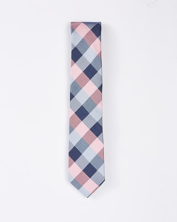 narrow silk blend checked tie