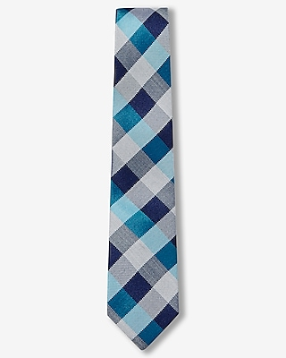Express Mens Checked Narrow Silk Blend Tie Blue