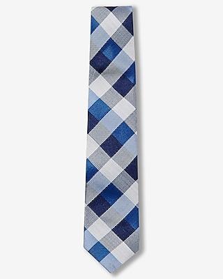 Express Mens Checked Narrow Silk Blend Tie Blue