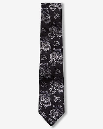 floral narrow silk tie