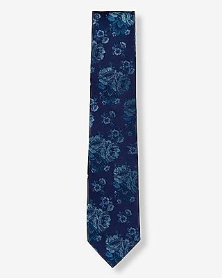 Express Mens Floral Narrow Silk Tie Blue