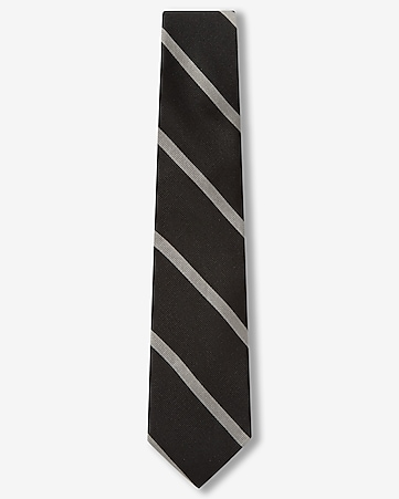 narrow cotton diaganol stripe tie