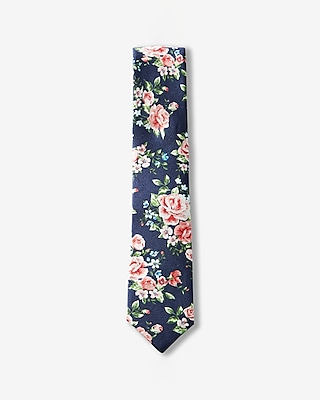 Express Mens Floral Slim Silk Tie Blue