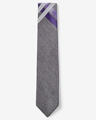 Express Mens Plaid Narrow Silk Tie Purple