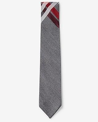 Express Mens Plaid Narrow Silk Tie Red