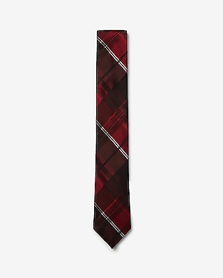 Express Mens Narrow Plaid Silk Tie Red Men's Reg Red REG