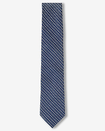 narrow micro print silk tie